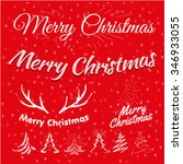 merry christmas. red vector set ... | Shutterstock .eps vector #346933055