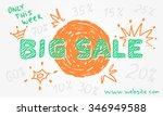 vector big sale hand drawn... | Shutterstock .eps vector #346949588