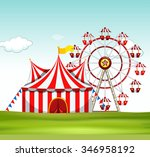 circus tent and ferris wheel on ... | Shutterstock .eps vector #346958192