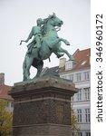 Small photo of COPENHAGEN, DENMARK - NOVEMBER 01, 2014: The statue of Bishop Absalon, founder of Copenhagen