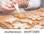decorating gingerbread cookies  ... | Shutterstock . vector #346972085