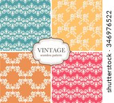 set of four seamless vintage... | Shutterstock .eps vector #346976522