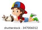 girl playing with little kitten ... | Shutterstock .eps vector #347006012