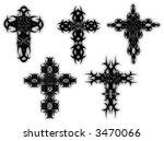 set of 5 celtic style crosses...   Shutterstock .eps vector #3470066