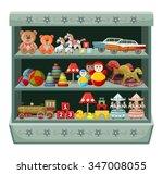 vintage toys shop. shelves.... | Shutterstock .eps vector #347008055