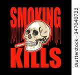 smoking kills black and red... | Shutterstock .eps vector #347040722