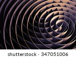 Dark intersected 3d spirals, abstract digital illustration, background pattern