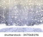 empty concrete when snowing and ... | Shutterstock . vector #347068196