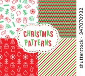 christmas pattern set. seamless ... | Shutterstock .eps vector #347070932
