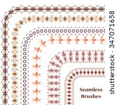 set seamless brushes. border... | Shutterstock .eps vector #347071658