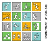 sport icons. set of linear sign.... | Shutterstock .eps vector #347083538
