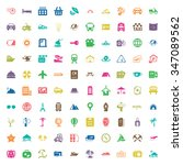 travel 100 icons set for web... | Shutterstock . vector #347089562