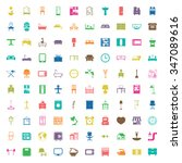 furniture 100 icons set for web ... | Shutterstock . vector #347089616