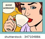 good morning girl with cup of...