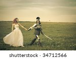 Princess Bride and her knight / wedding / retro style toned - stock photo