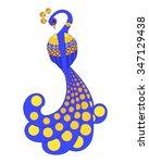 blue fairy tale stylized bird... | Shutterstock .eps vector #347129438