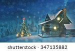 illuminated christmas tree and... | Shutterstock . vector #347135882