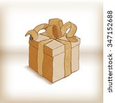 old gift box with ribbon. retro ...   Shutterstock .eps vector #347152688