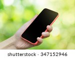 woman hand hold smart phone or... | Shutterstock . vector #347152946