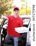 pizza delivery boy holding... | Shutterstock . vector #347175998