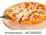 slice of pepperoni pizza with... | Shutterstock . vector #347190335