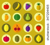 vector fruit colorful icons.... | Shutterstock .eps vector #347204405
