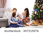 happy family read book in the... | Shutterstock . vector #347215076