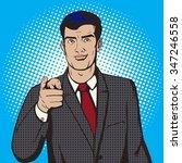 man pointing forward by finger... | Shutterstock .eps vector #347246558