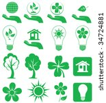 Different forms of green icons, illustration - stock vector