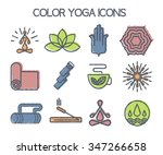 set of 12 line yoga icons. hand ... | Shutterstock .eps vector #347266658