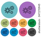 color gears flat icon set on...