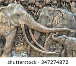Elephants Stone Sculpture On...