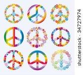 set of peace symbols | Shutterstock .eps vector #34727974