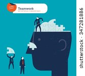 businessmen putting a brain...   Shutterstock .eps vector #347281886