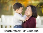 happy chinese mom having fun... | Shutterstock . vector #347306405