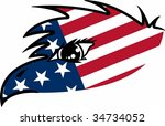 usa flag eagle graphic | Shutterstock .eps vector #34734052