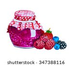 jam and fresh berries isolated... | Shutterstock . vector #347388116