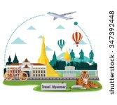 illustration. travel around...   Shutterstock .eps vector #347392448