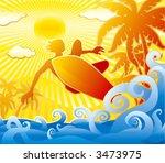 surfer. summer scene. | Shutterstock .eps vector #3473975