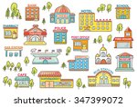 set of simple colorful cartoon... | Shutterstock .eps vector #347399072