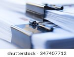 stack of documents with clip | Shutterstock . vector #347407712