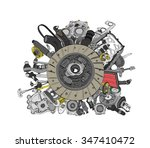 many images of spare parts for... | Shutterstock .eps vector #347410472