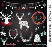 chalkboard christmas merry... | Shutterstock .eps vector #347411462