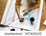top view of architect drawing... | Shutterstock . vector #347420135