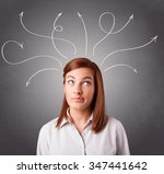 pretty young girl thinking with ... | Shutterstock . vector #347441642