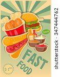 fast food poster   burgers  hot ... | Shutterstock .eps vector #347444762