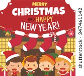 kids and christmas. flat design ... | Shutterstock .eps vector #347461142