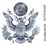 silver great seal of the united ... | Shutterstock .eps vector #347471435