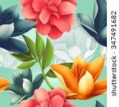 seamless tropical flower  plant ... | Shutterstock . vector #347491682