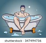 vector color sailor in bath... | Shutterstock .eps vector #347494736